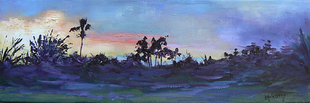 "Landscape Panoramic Daily Painting ""Before Evening Fell"", 6x18"" original fine art by Carol Schiff"