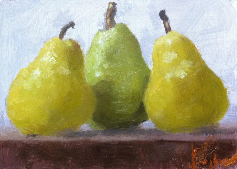 """Three Bartletts"" original fine art by Richard Jones"