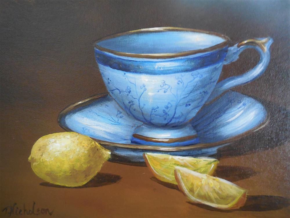 """Teacup and Lemons"" original fine art by Terri Nicholson"