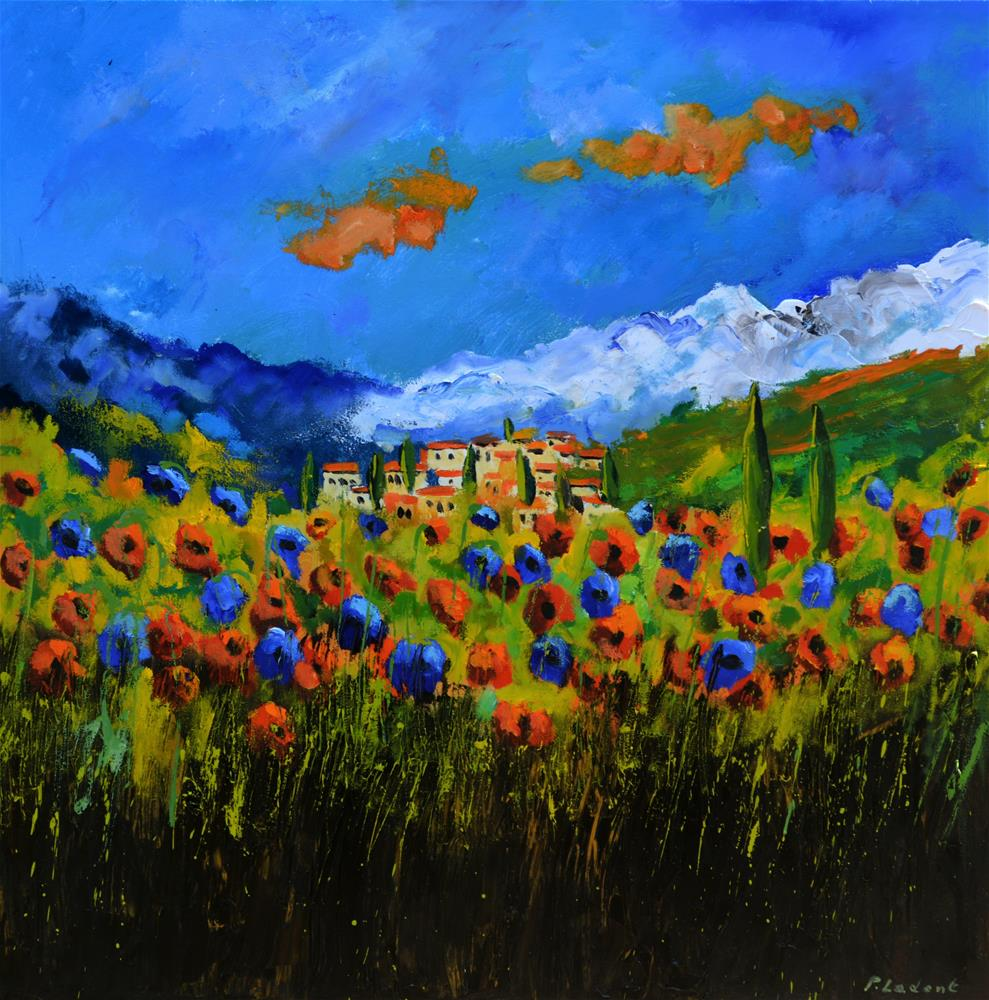 """Poppies in Tuscany 7761"" original fine art by Pol Ledent"