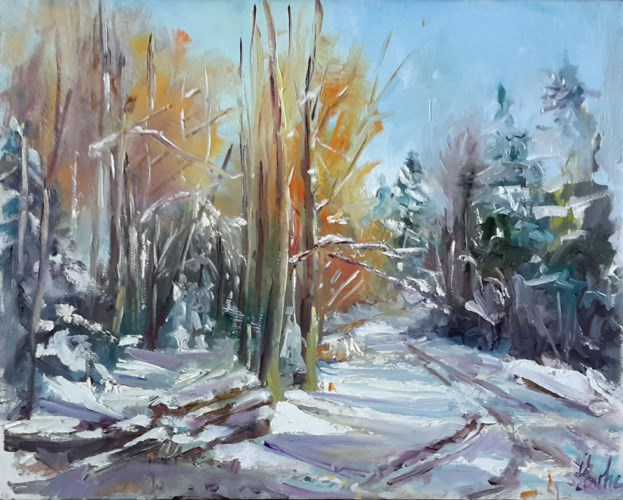 """Neige en forêt"" original fine art by Evelyne Heimburger Evhe"