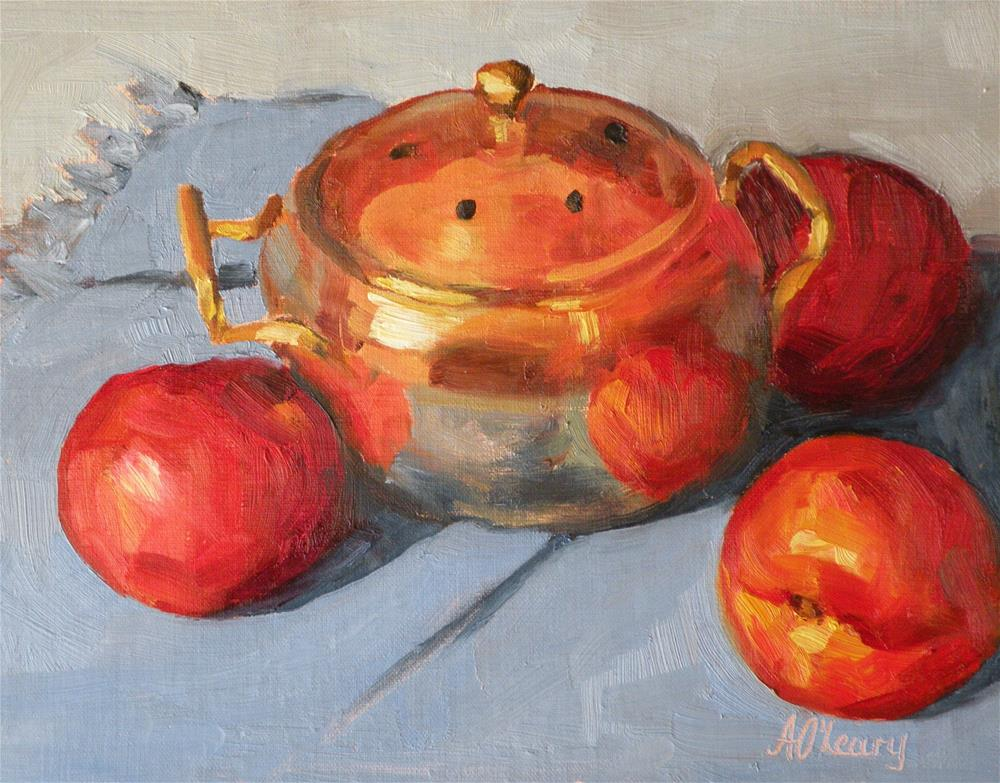 """Nectarines and Brass"" original fine art by Alice O'Leary"
