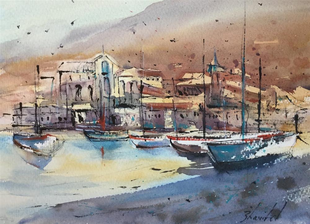 """9x11, watercolor on paper, price $100, Fishing Boats, Carolyn Zbavitel Artist"" original fine art by Carolyn Zbavitel"