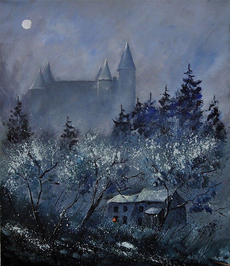 """""""Castle of Veves"""" original fine art by Pol Ledent"""