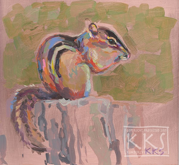 """Chippie II, A Chipmunk on Copper"" original fine art by Kimberly Santini"