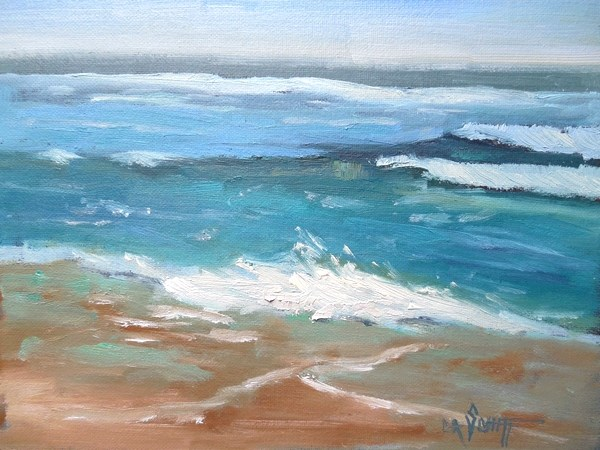 """Small Seascape, Daily Painting, Small Oil Painting, Beach Music by Carol Schiff, 6x8 Oil"" original fine art by Carol Schiff"