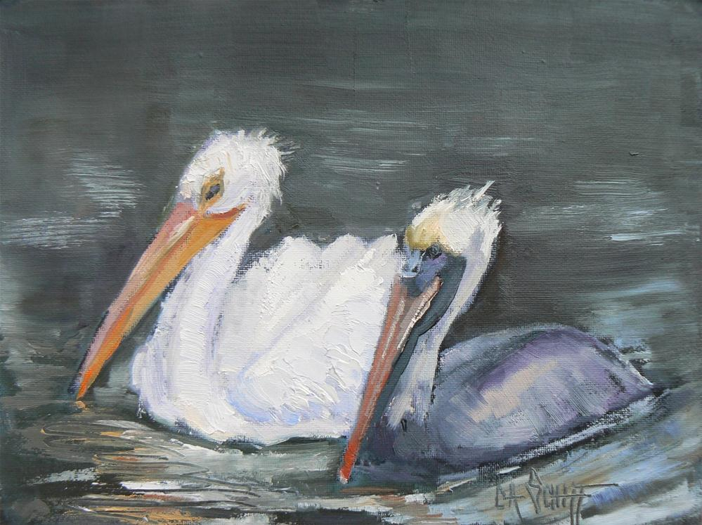 "Daily Painting, Oil Original, ""Pelican Buddies"", 6x8"" original fine art by Carol Schiff"