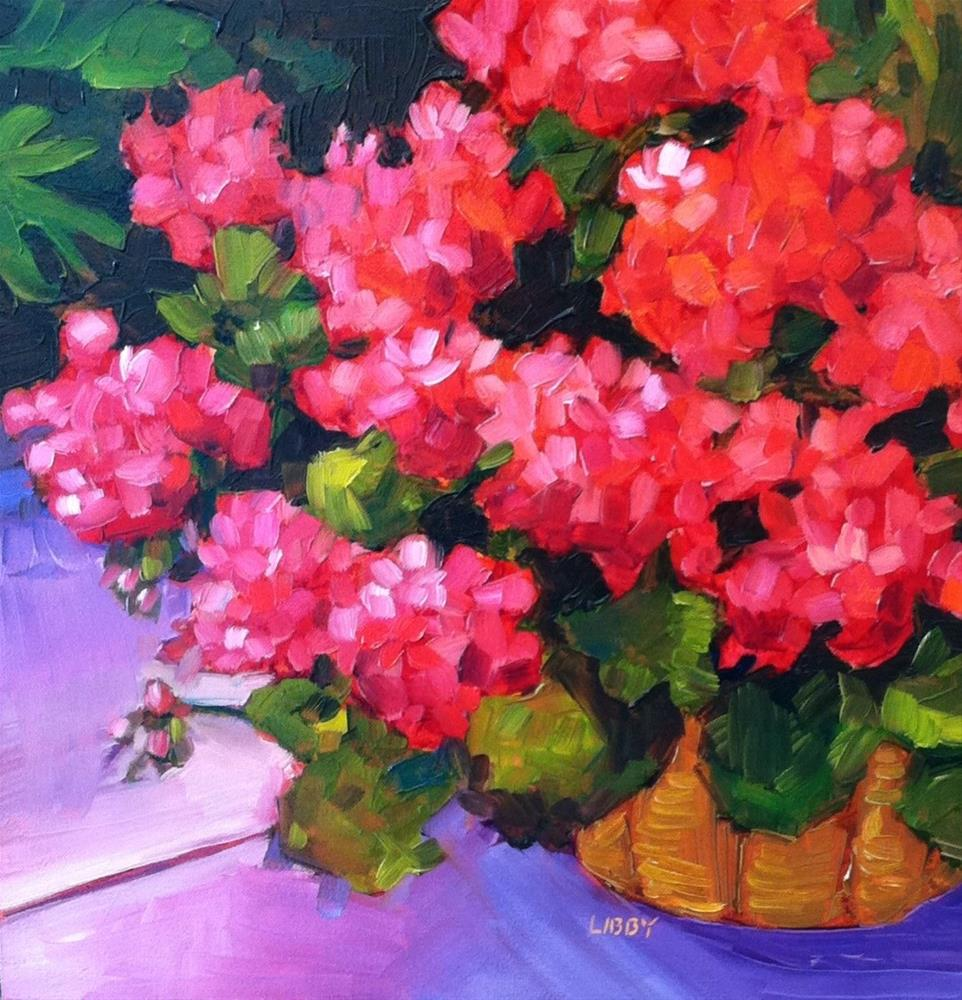 """Glorious Geraniums"" original fine art by Libby Anderson"
