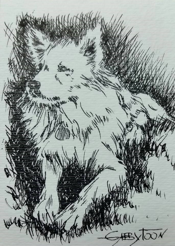 """A Dog (ACEO)"" original fine art by Gabriella DeLamater"