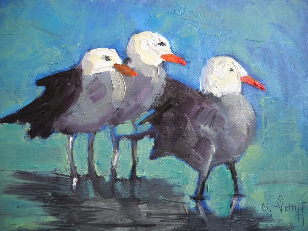 """Daily Painting, Seagull Painting, The Three Stooges by Carol Schiff, 6x8 Oil,"" original fine art by Carol Schiff"