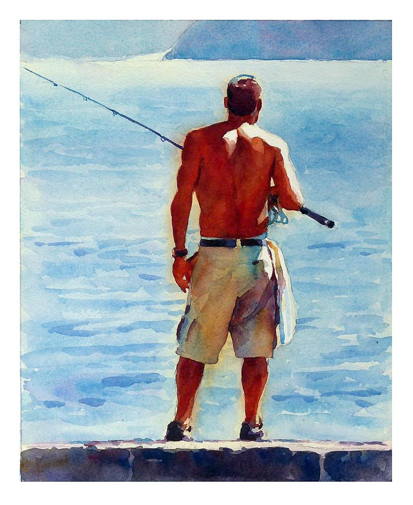 """Man fishing."" original fine art by Graham Berry"