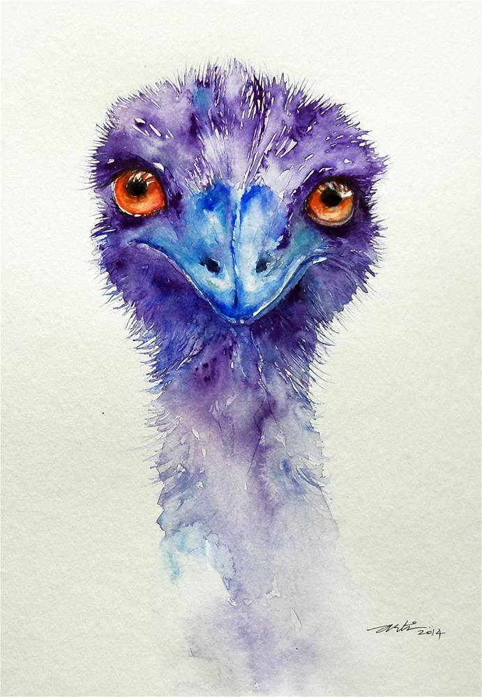 """""""Emu Bird Portrait"""" original fine art by Arti Chauhan"""
