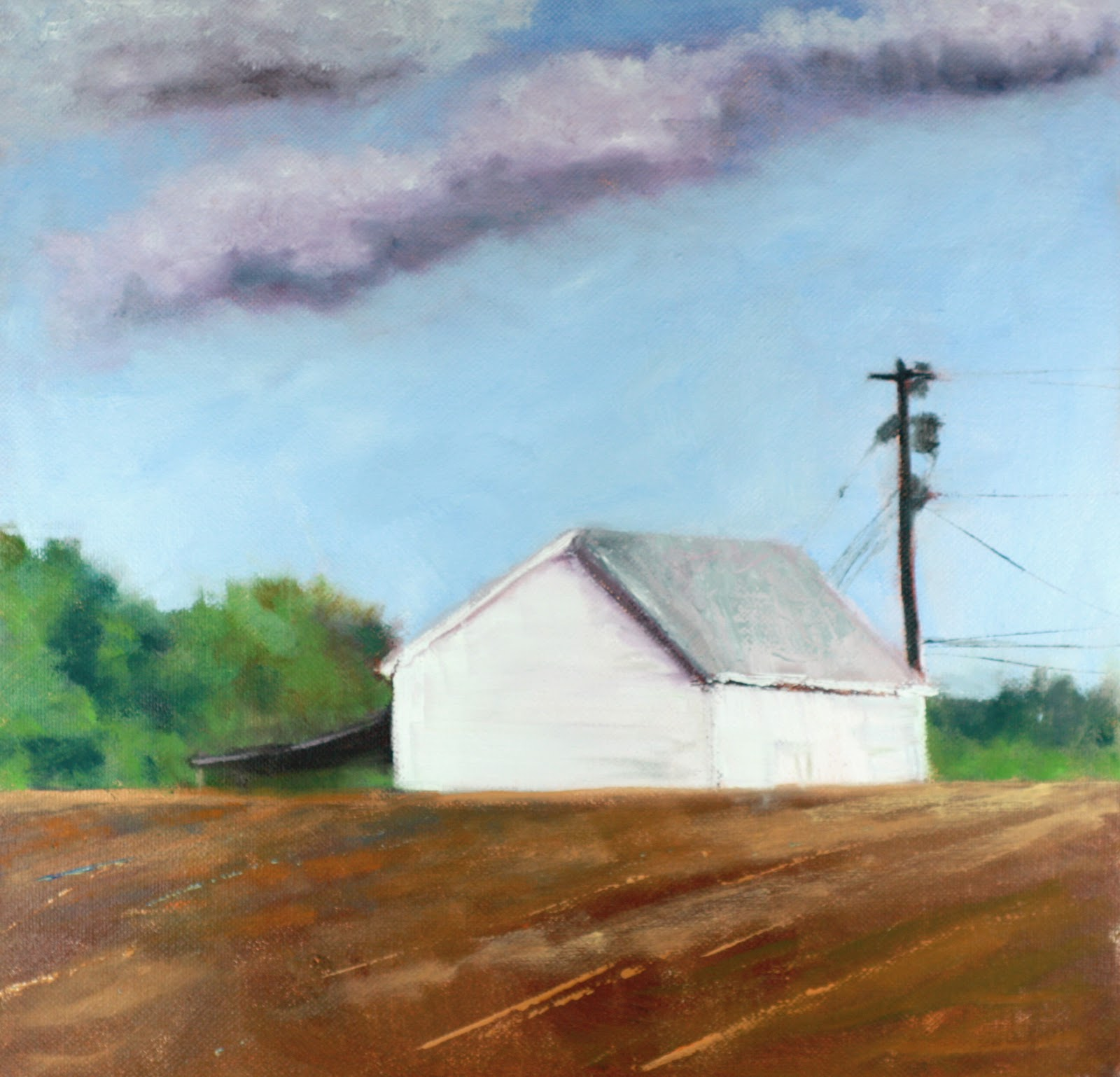 landscape oil painting with white barn original fine art by Carrie Venezia