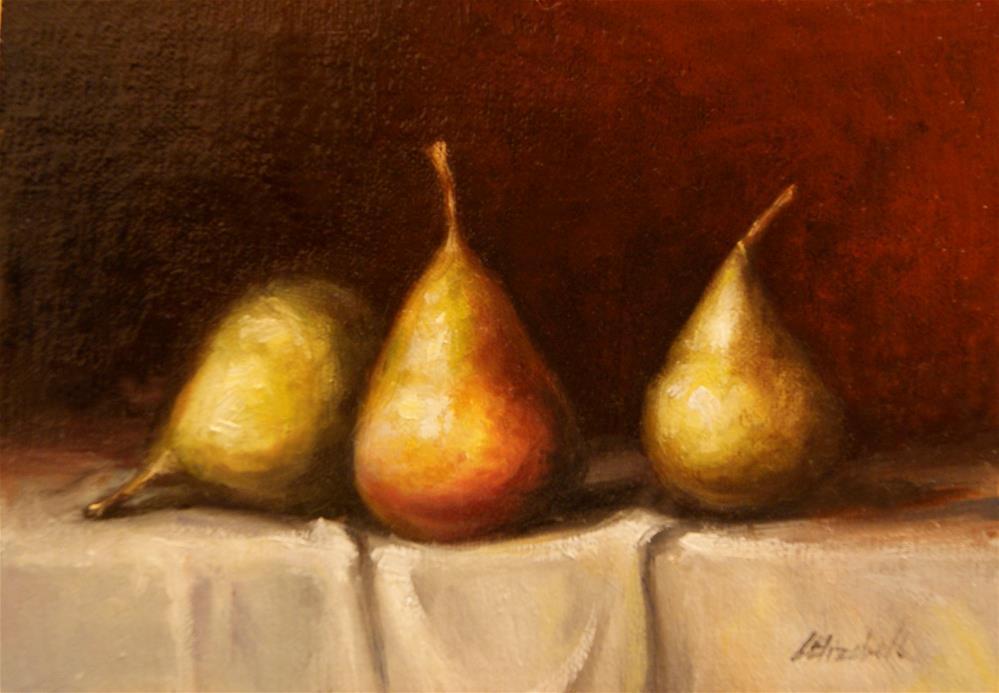 """Three Seckel Pears,  Oil on 5x7 Linen Panel"" original fine art by Carolina Elizabeth"