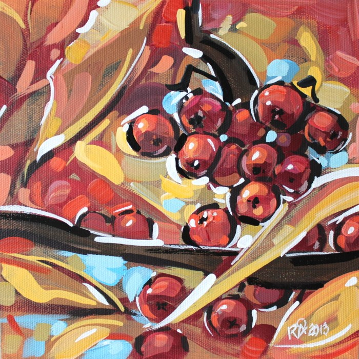 """Autumn berries 4"" original fine art by Roger Akesson"