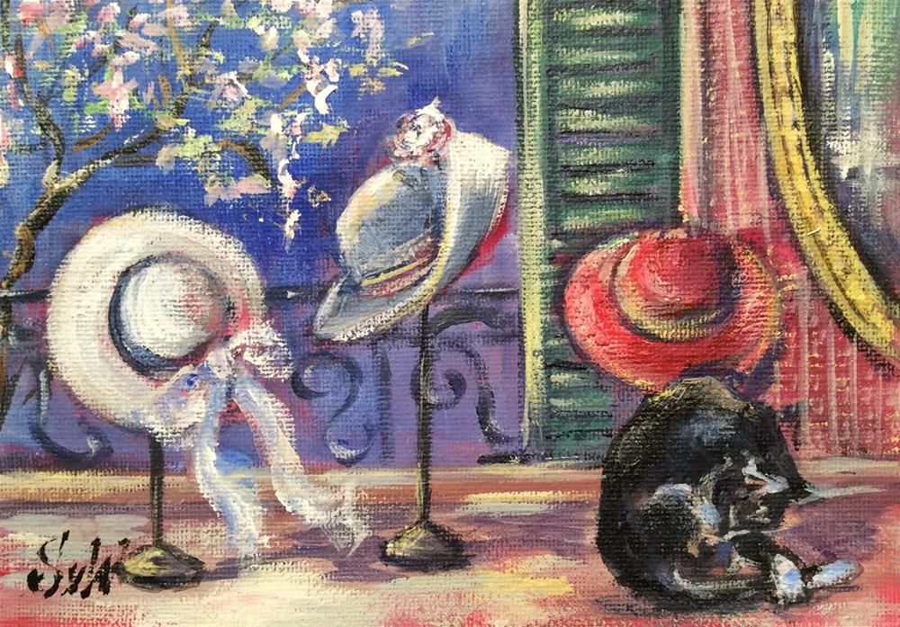 """Spring is in the air -hats in Paris"" original fine art by Sonia von Walter"