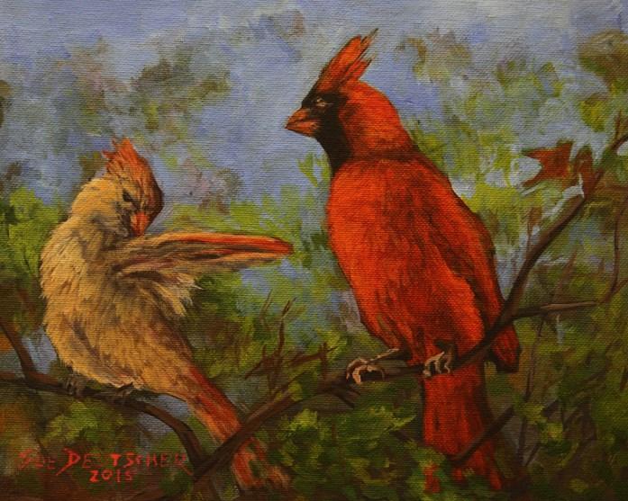 """""""Red Cardinal"""" original fine art by Sue Deutscher"""