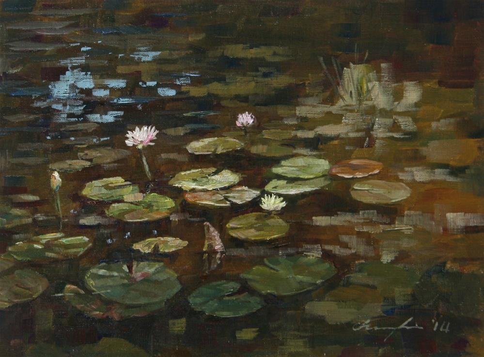 """Water Lilies"" original fine art by Chuang Liu"