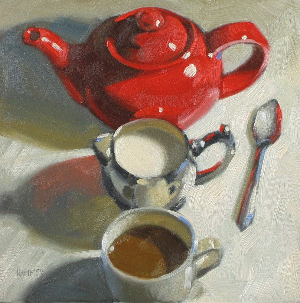 """Red, white, yum! 6x6 oil"" original fine art by Claudia Hammer"