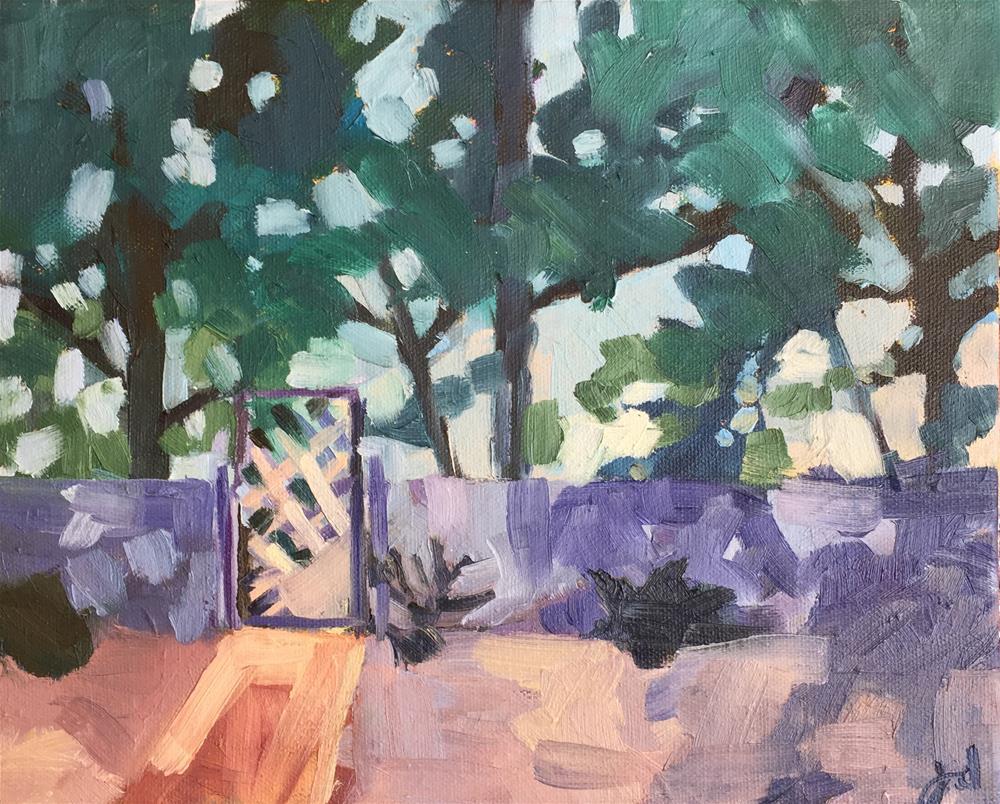 """Backyard at Dusk"" original fine art by Jessie Dodington"