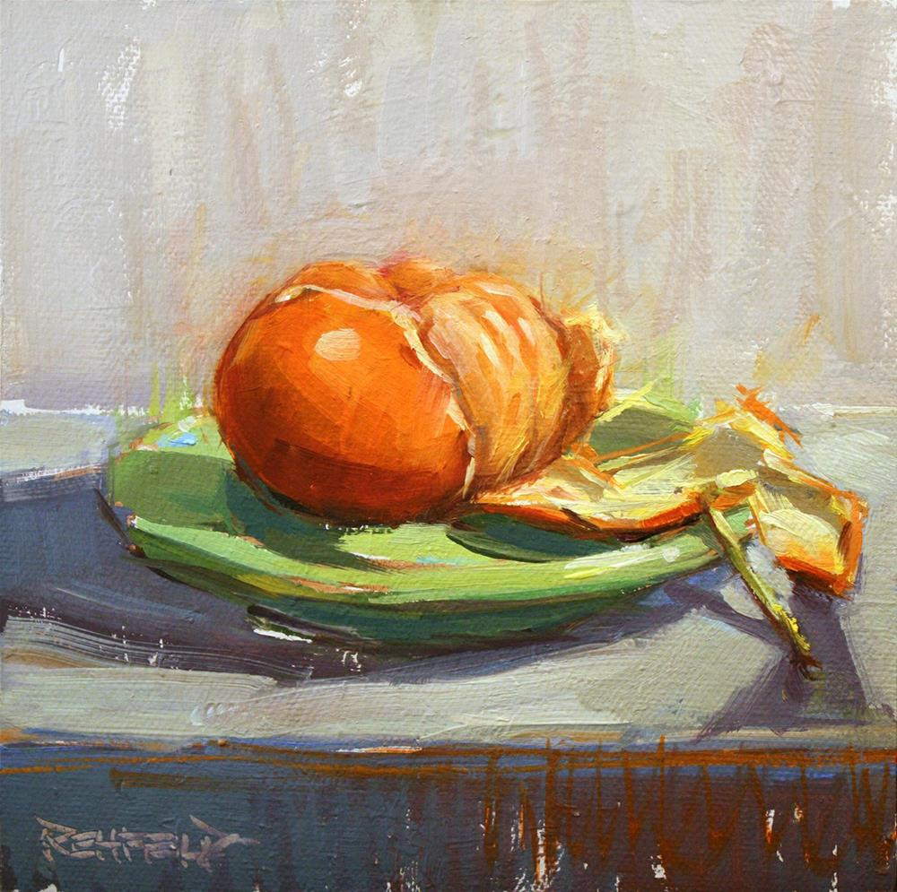 """Tangerine on a Green Plate"" original fine art by Cathleen Rehfeld"