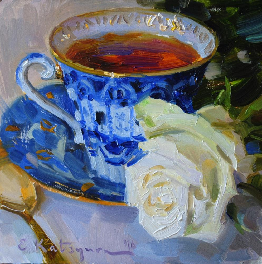 """Blue Cup, White Rose"" original fine art by Elena Katsyura"