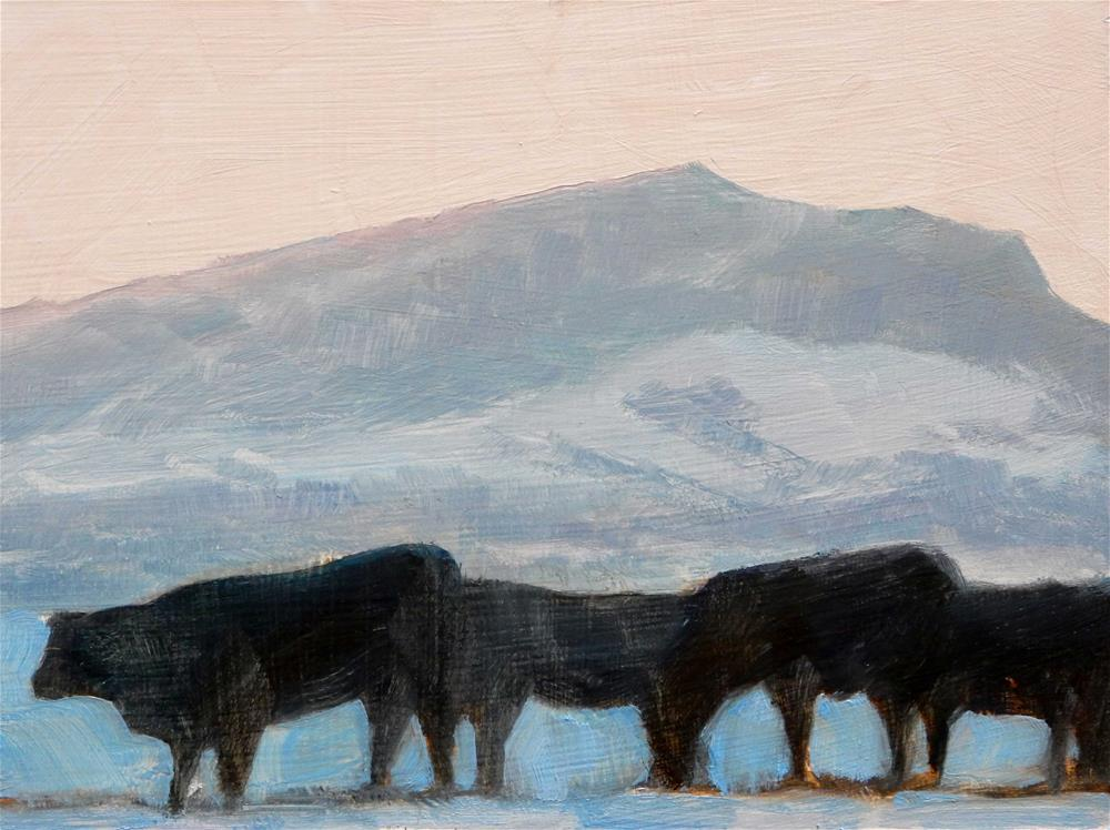 """Mt. Helena with Cattle"" original fine art by Carolyn Caldwell"