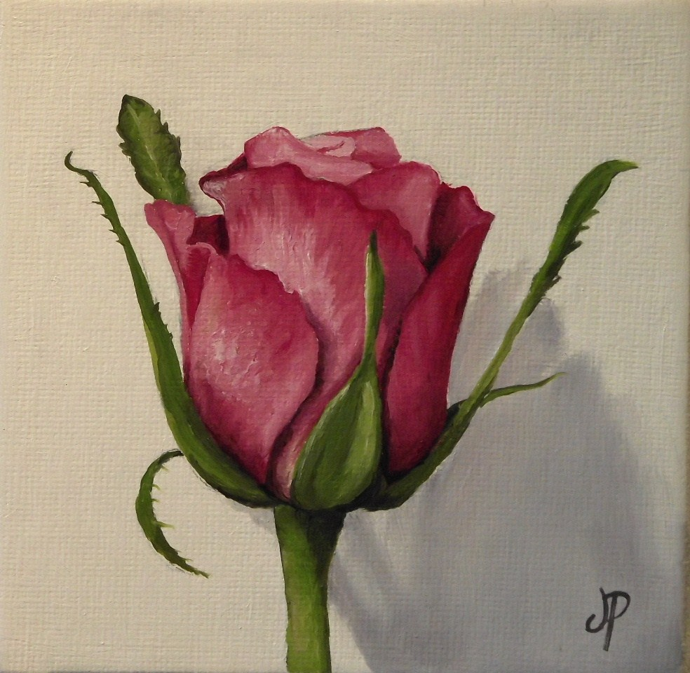 """Rose Bud and a clementine"" original fine art by Jane Palmer"