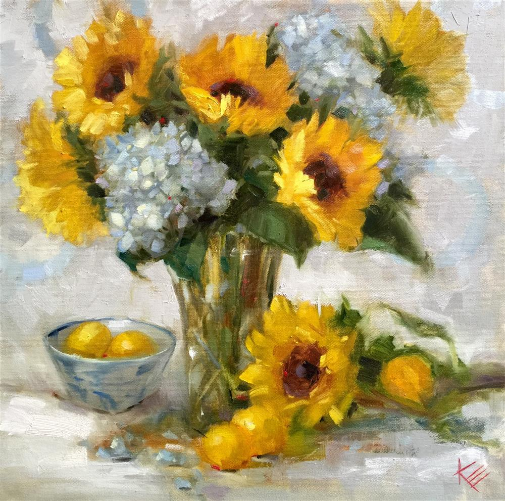 """Sunflowers & Lemons "" original fine art by Krista Eaton"