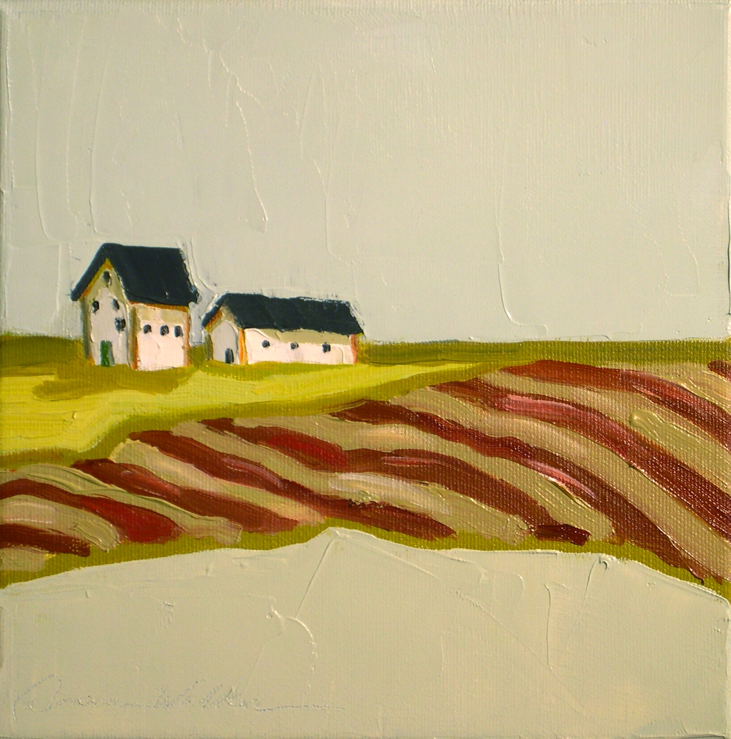 """Red Stripes, Green Door"" original fine art by Donna Walker"