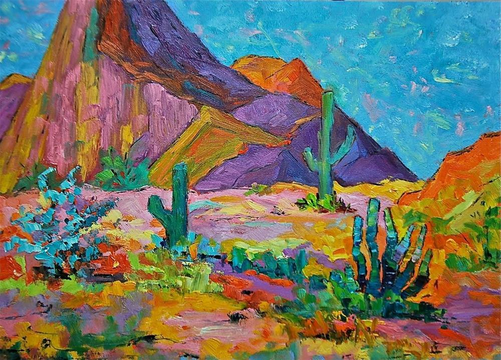 """Purple Arizona Mountains"" original fine art by Liz Zornes"