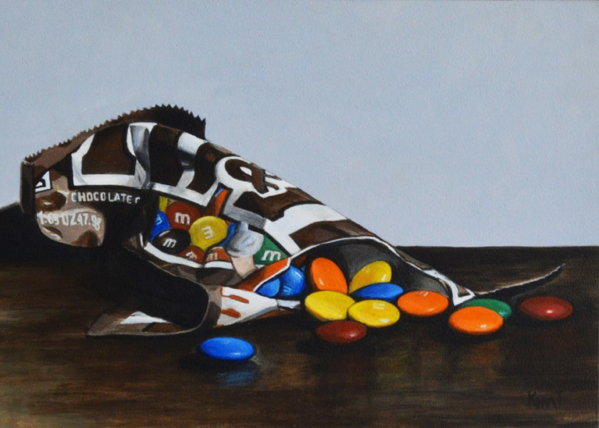"""Bag of M&Ms"" original fine art by Kim Testone"