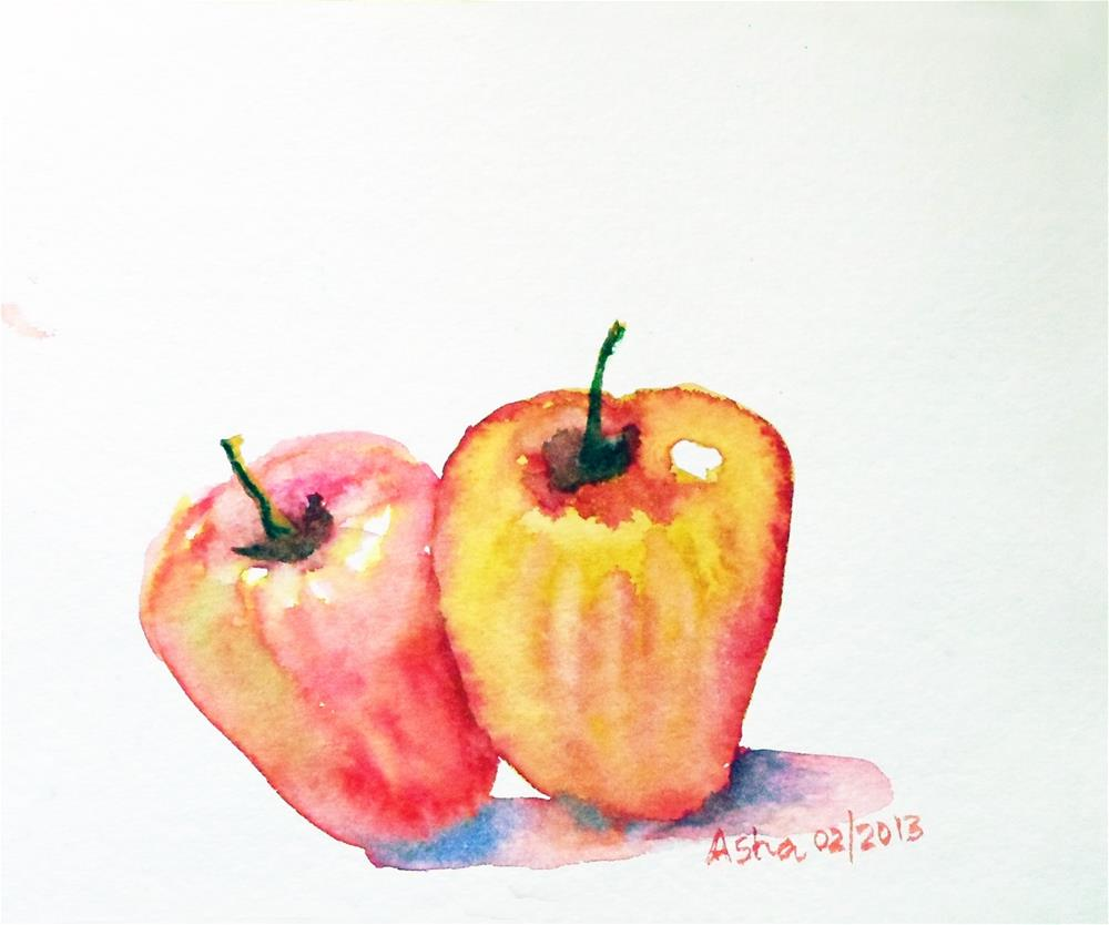 """Cashew fruit"" original fine art by Asha Shenoy S"
