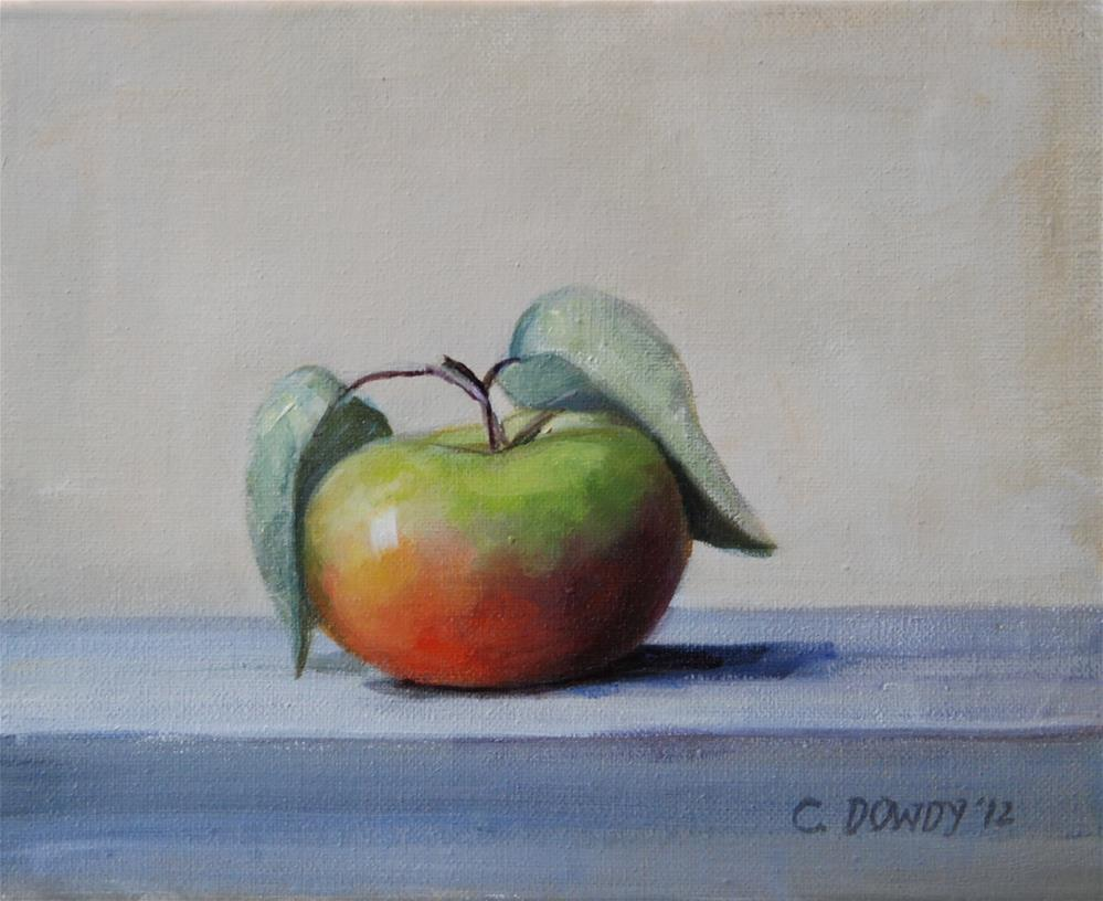 """Lady Apple with Leaves"" original fine art by Christina Dowdy"