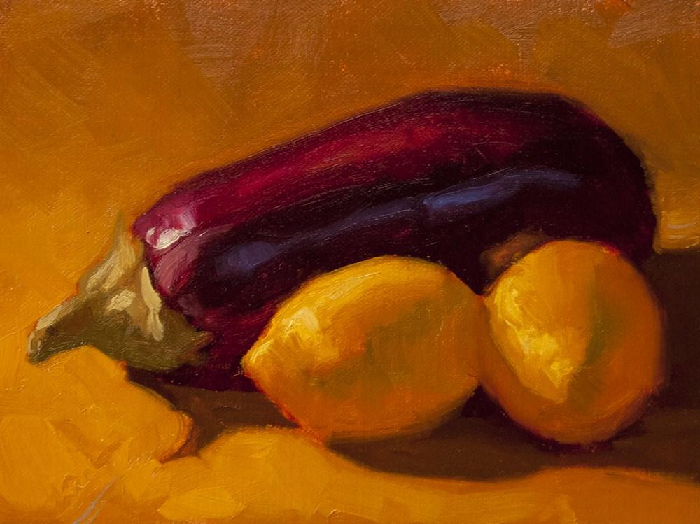 """Eggplant and Lemons"" original fine art by Liz Wiltzen"