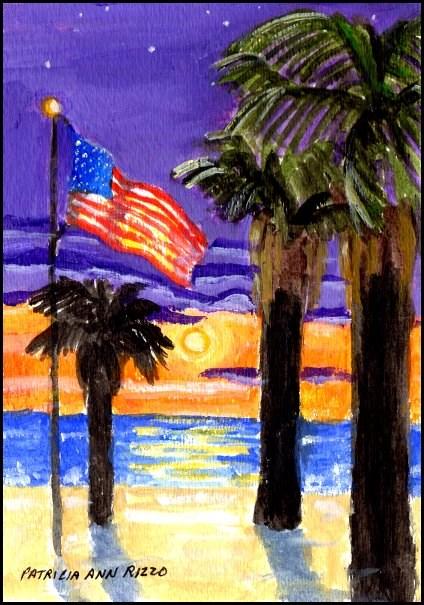 """Old Glory Over a California Beach"" original fine art by Patricia Ann Rizzo"