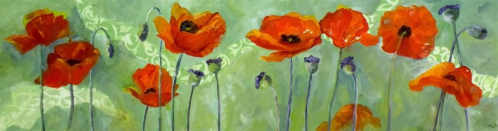 """SPRING POPPIES ORIGINAL MIXED MEDIA PAINTING OF POPPIES ON CRADLED PANEL © SAUNDRA LANE GALLO"" original fine art by Saundra Lane Galloway"