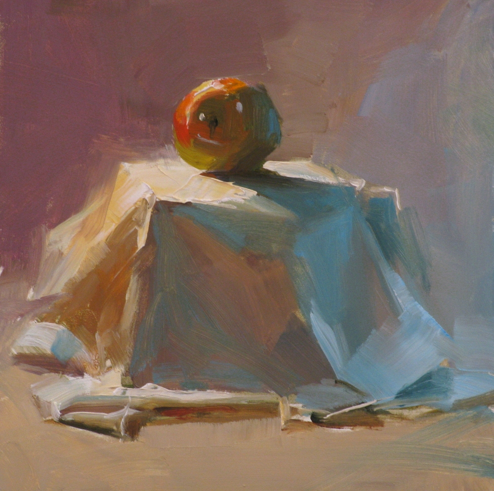"""Apple on Stage"" original fine art by Qiang Huang"