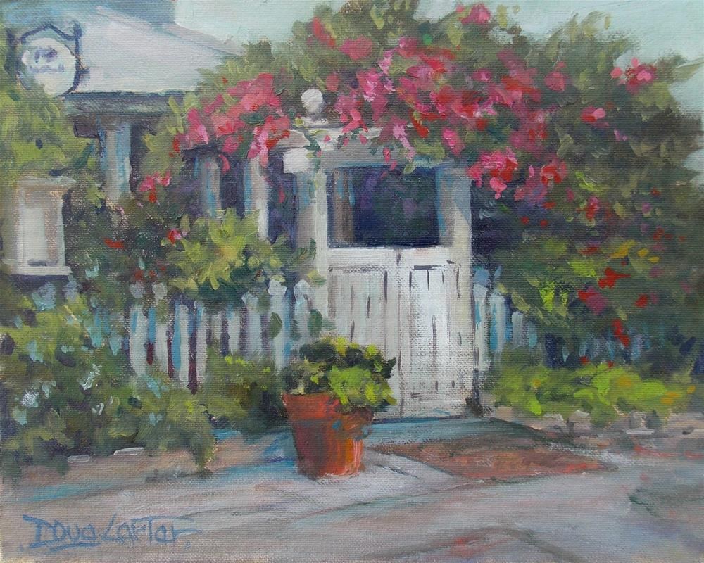 """ GARDEN GATE CAFE "" original fine art by Doug Carter"