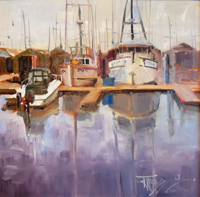 """Line Up  marine oil painting by Robin Weiss"" original fine art by Robin Weiss"