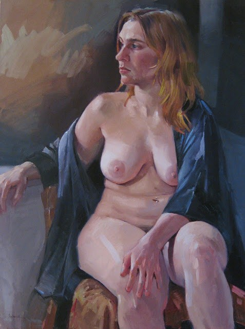"""Tahni figure figurative art nude woman portrait large oil painting"" original fine art by Sarah Sedwick"