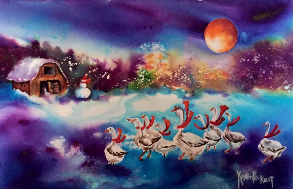 """Goose Dance"" original fine art by Karen Peikert"