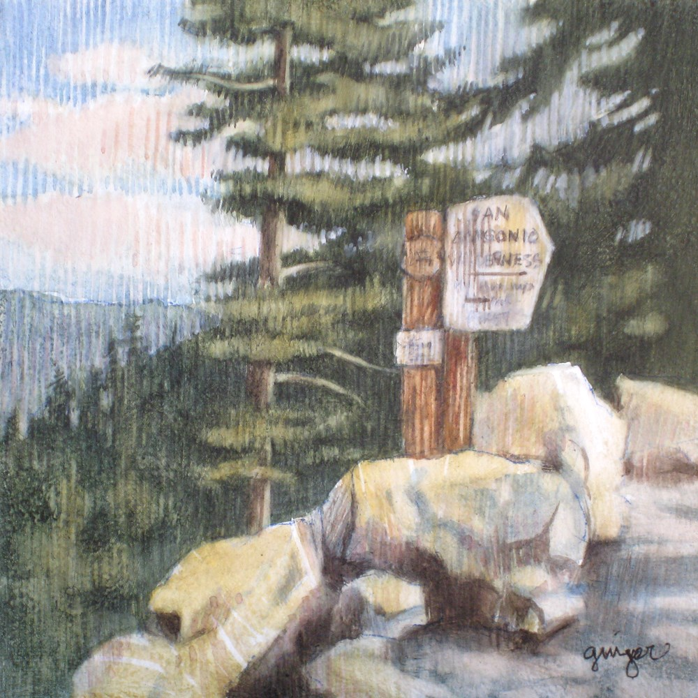 """At the Wilderness Sign"" original fine art by Ginger Pena"