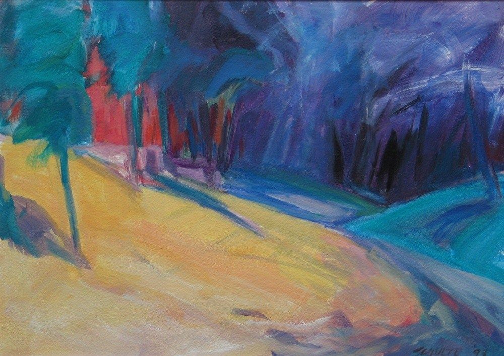 """Matted Yellow Hillside"" original fine art by Lynne Schulte"