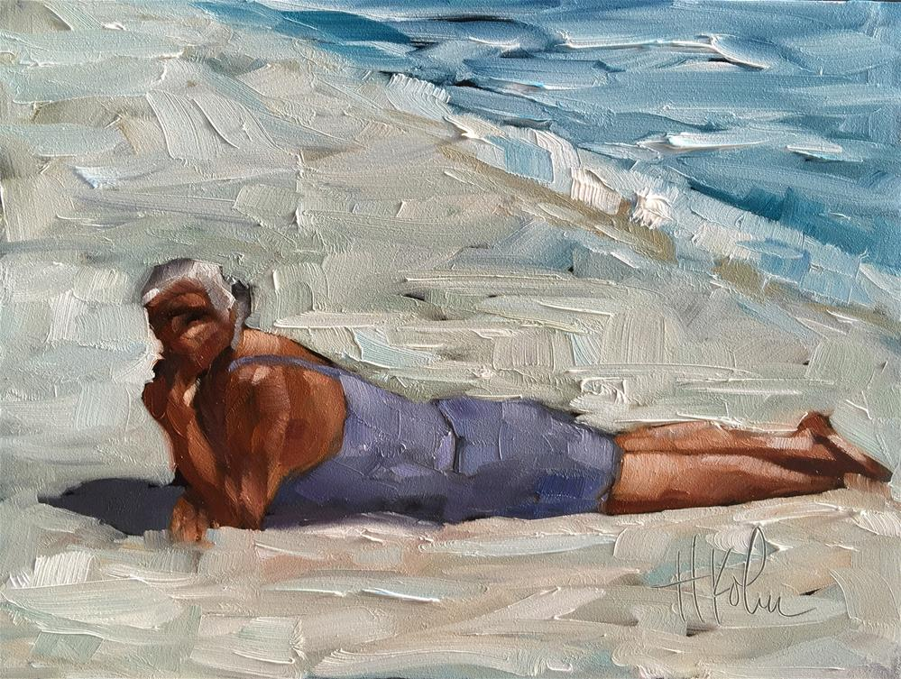 """Sunbather"" original fine art by Hallie Kohn"