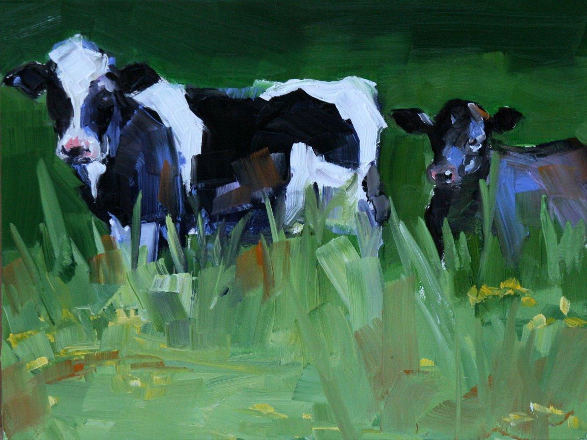 """""""No, I am not the chick filet cow"""" original fine art by Carol Carmichael"""