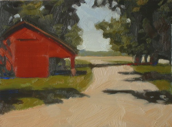 """Red Barn  5x7  oil"" original fine art by Claudia Hammer"