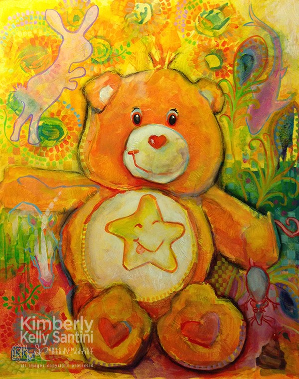 """Dont-Give-a-Care Bear"" original fine art by Kimberly Santini"