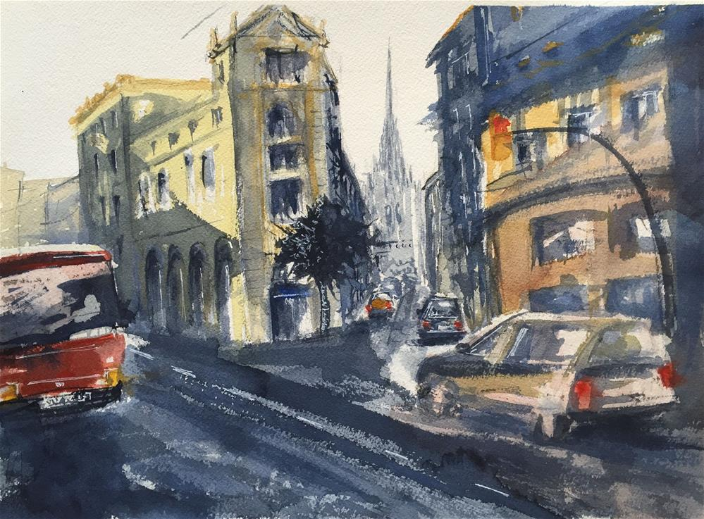 """VIA LAYETANA and CATHEDRAL OF BARCELONA"" original fine art by Ferran Llagostera"