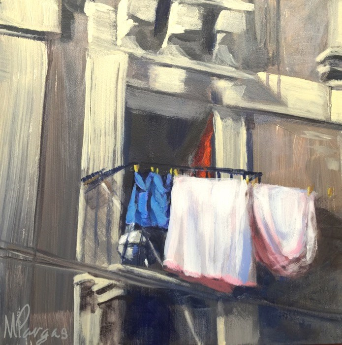 """Sicilian Balcony"" original fine art by Mary Pargas"